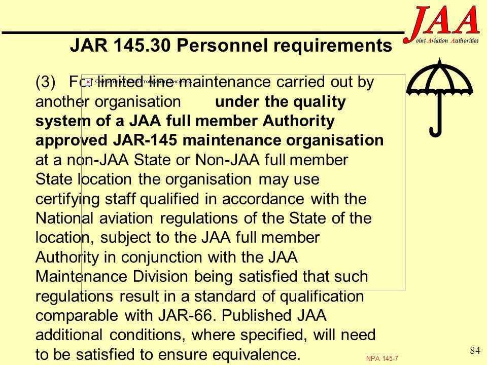 JAR Personnel requirements