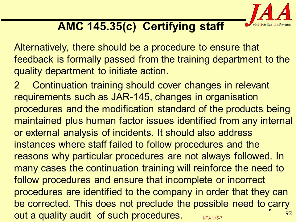 AMC 145.35(c) Certifying staff