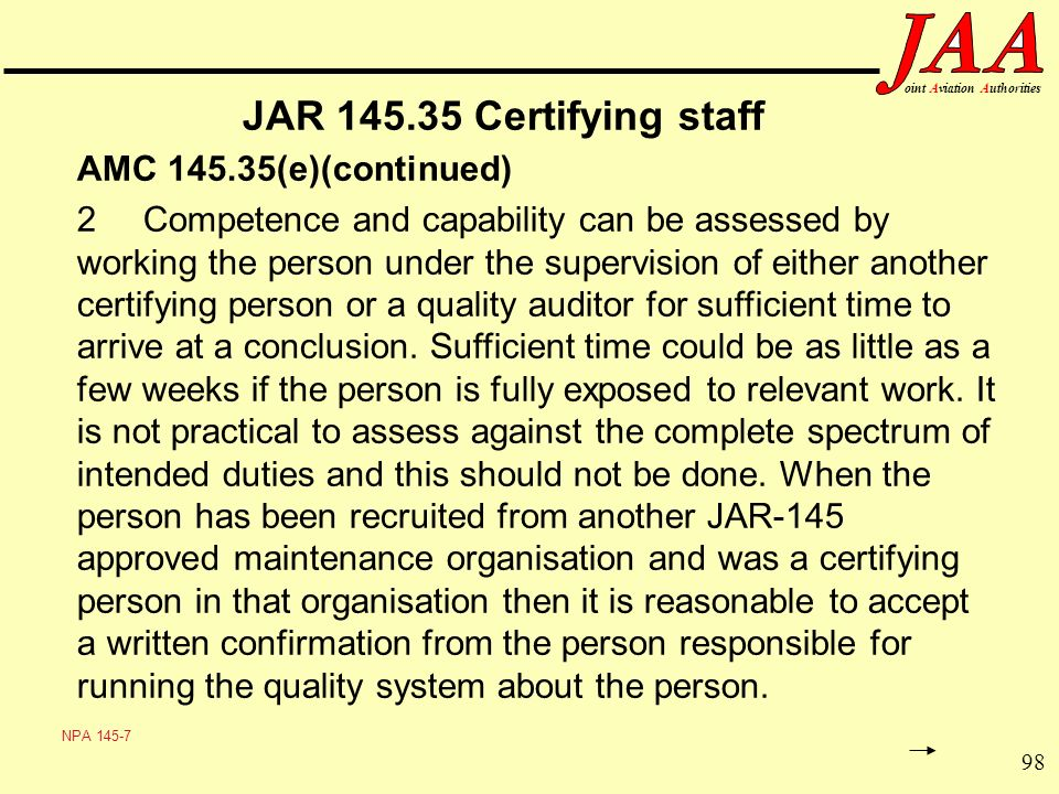 JAR Certifying staff AMC (e)(continued)
