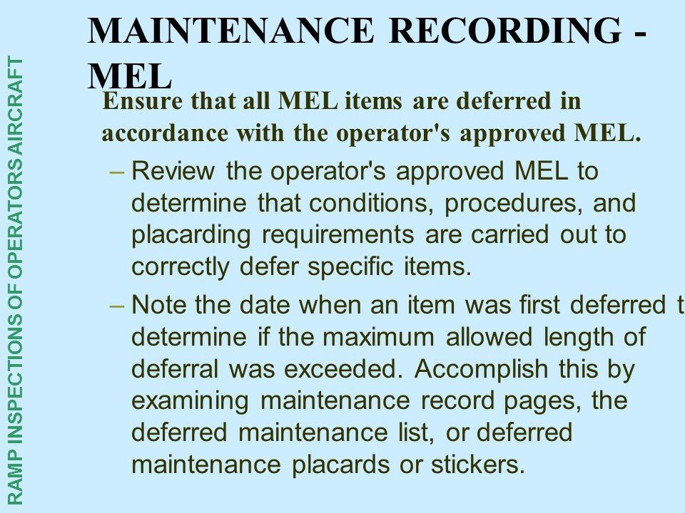MAINTENANCE RECORDING - MEL