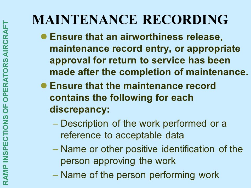 MAINTENANCE RECORDING