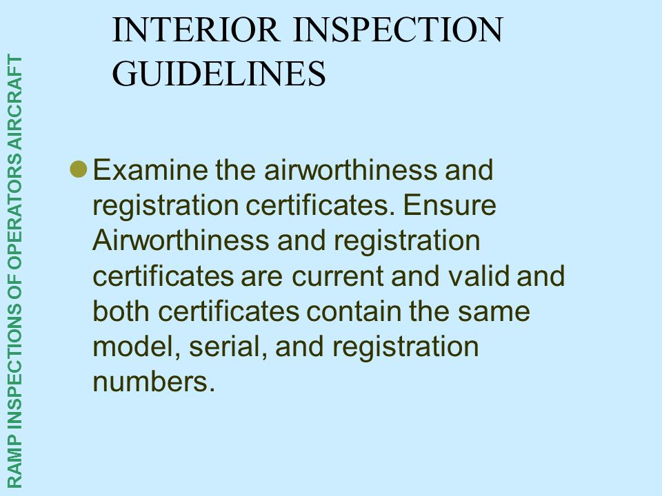 INTERIOR INSPECTION GUIDELINES