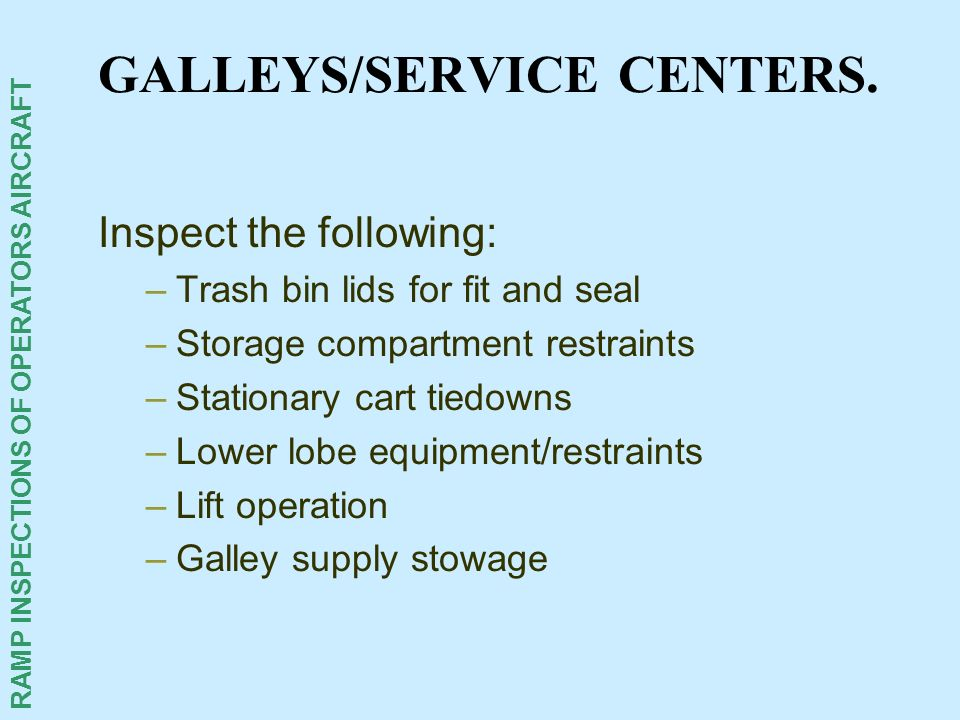 GALLEYS/SERVICE CENTERS.