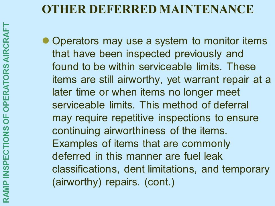 OTHER DEFERRED MAINTENANCE