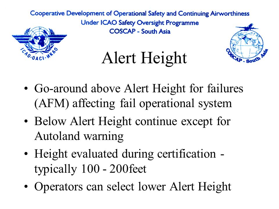 Alert Height Go-around above Alert Height for failures (AFM) affecting fail operational system.