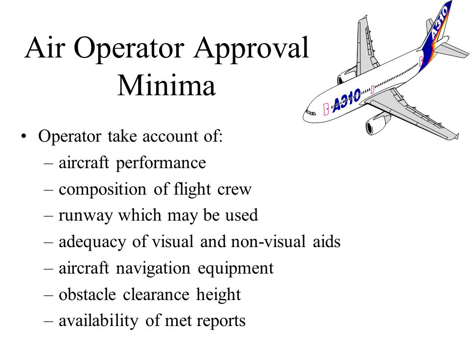 Air Operator Approval Minima