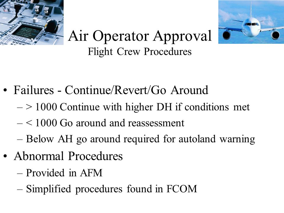 Air Operator Approval Flight Crew Procedures
