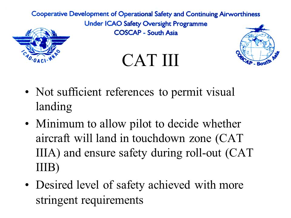 CAT III Not sufficient references to permit visual landing