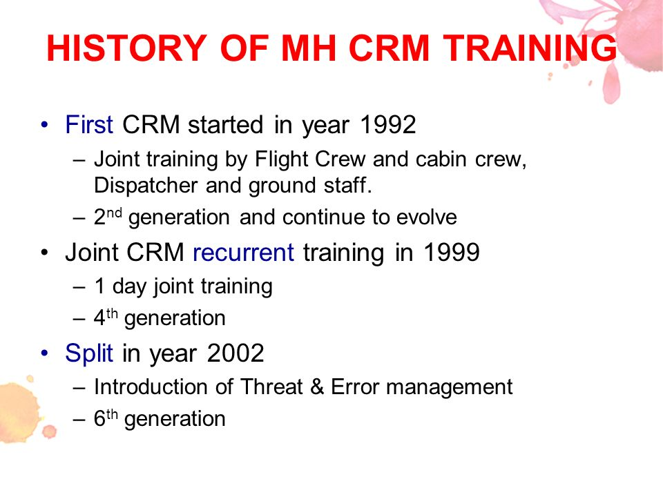 HISTORY OF MH CRM TRAINING