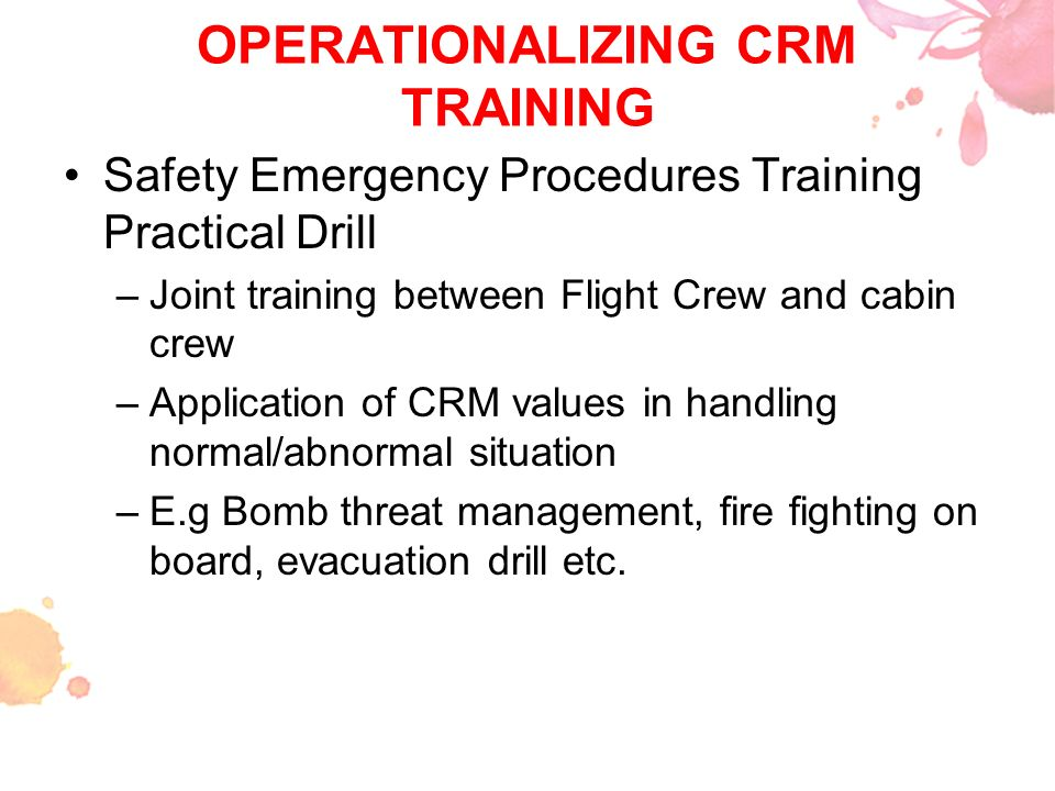 OPERATIONALIZING CRM TRAINING