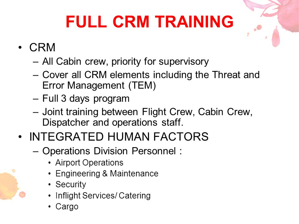 FULL CRM TRAINING CRM INTEGRATED HUMAN FACTORS