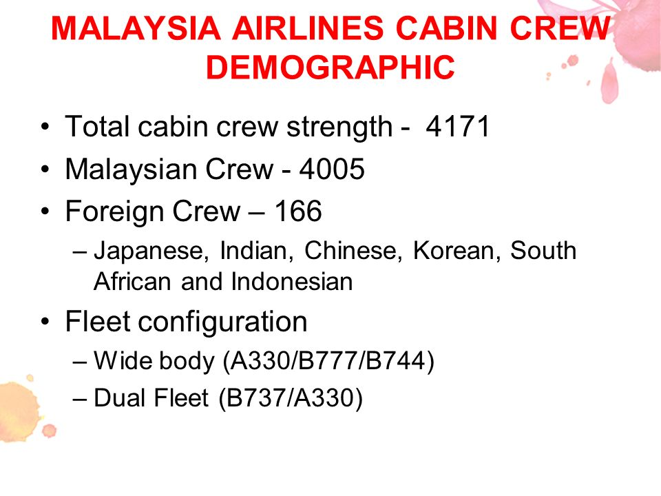 MALAYSIA AIRLINES CABIN CREW DEMOGRAPHIC