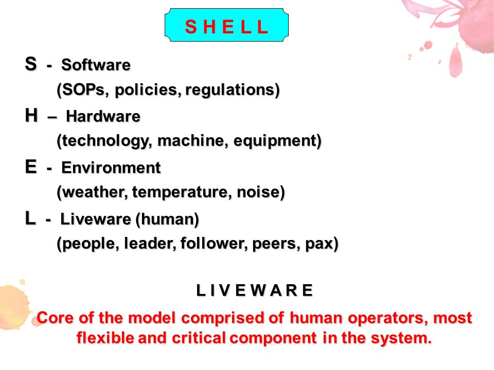 S H E L L S - Software H – Hardware E - Environment