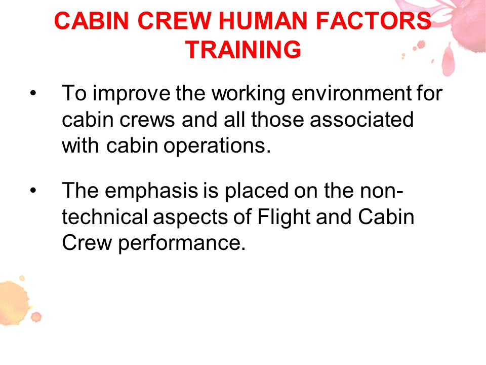 CABIN CREW HUMAN FACTORS TRAINING