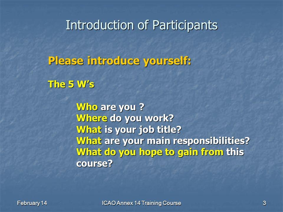 Introduction of Participants