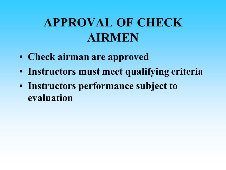 APPROVAL OF CHECK AIRMEN