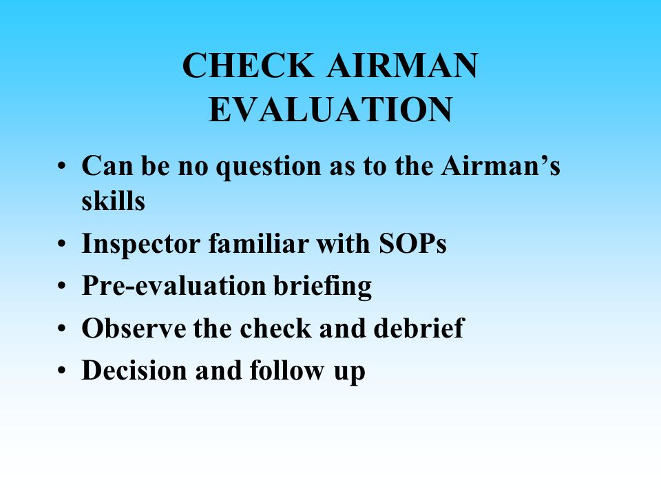 CHECK AIRMAN EVALUATION