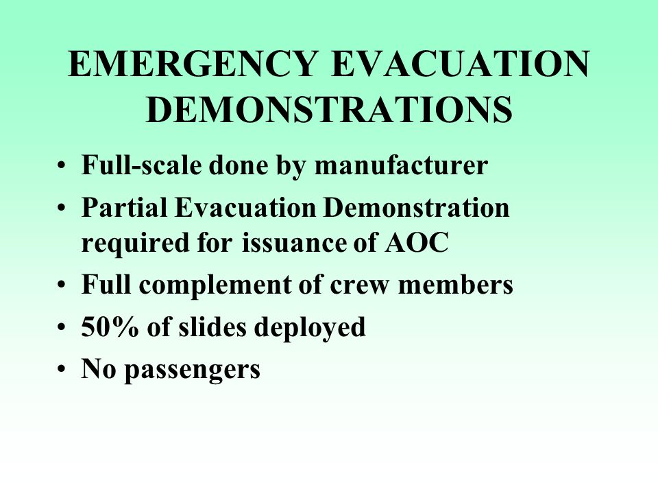 EMERGENCY EVACUATION DEMONSTRATIONS