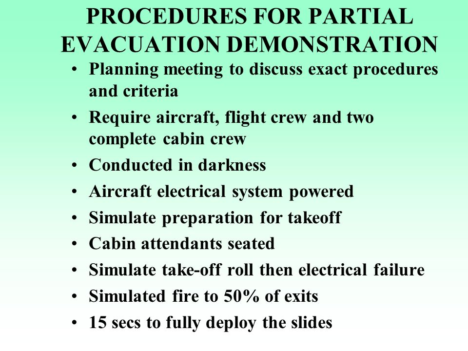 PROCEDURES FOR PARTIAL EVACUATION DEMONSTRATION