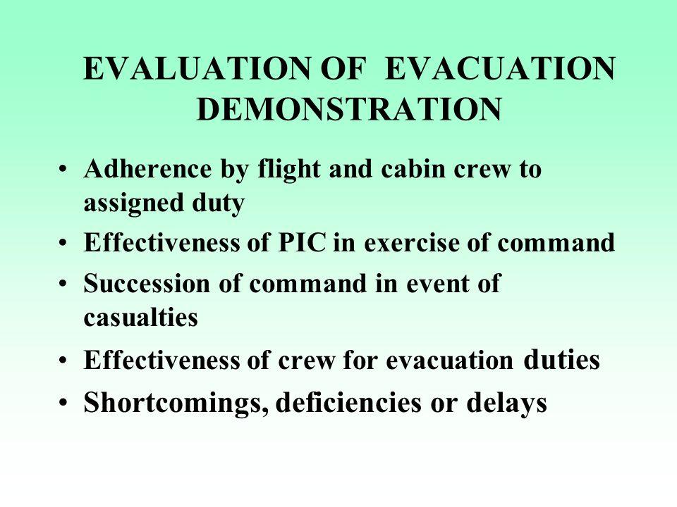 EVALUATION OF EVACUATION DEMONSTRATION