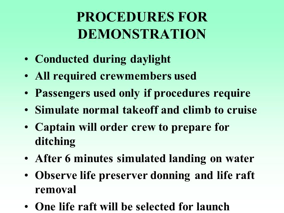 PROCEDURES FOR DEMONSTRATION