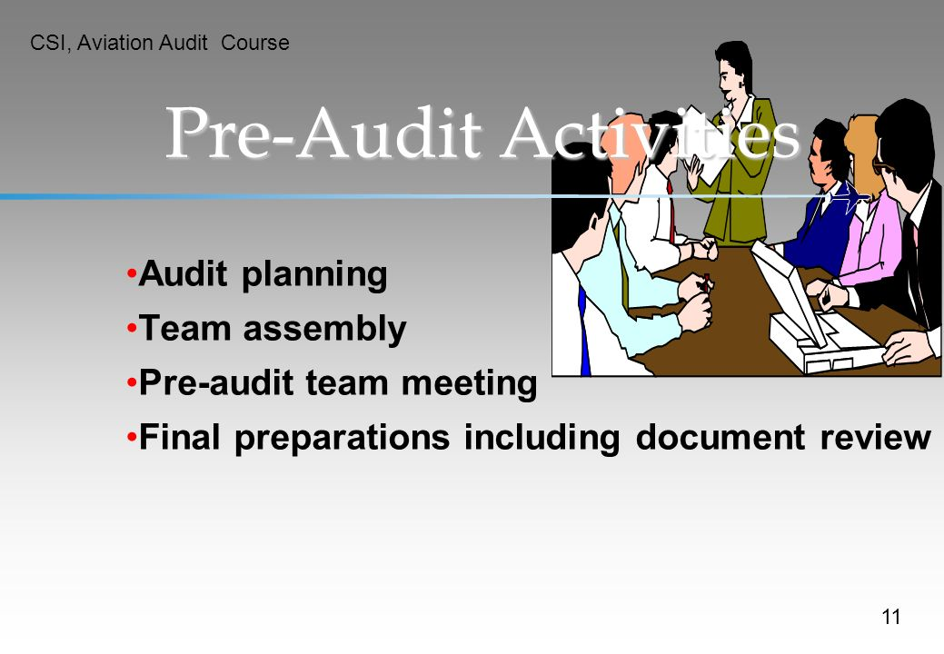 Pre-Audit Activities Audit planning Team assembly