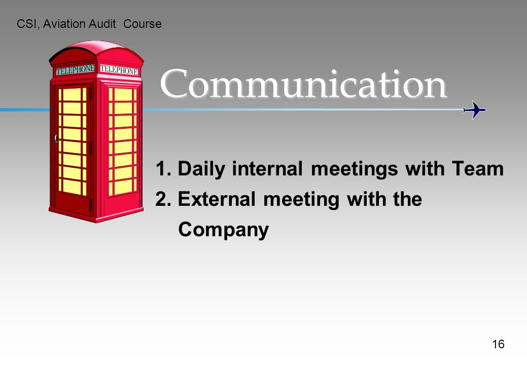 Communication 1. Daily internal meetings with Team