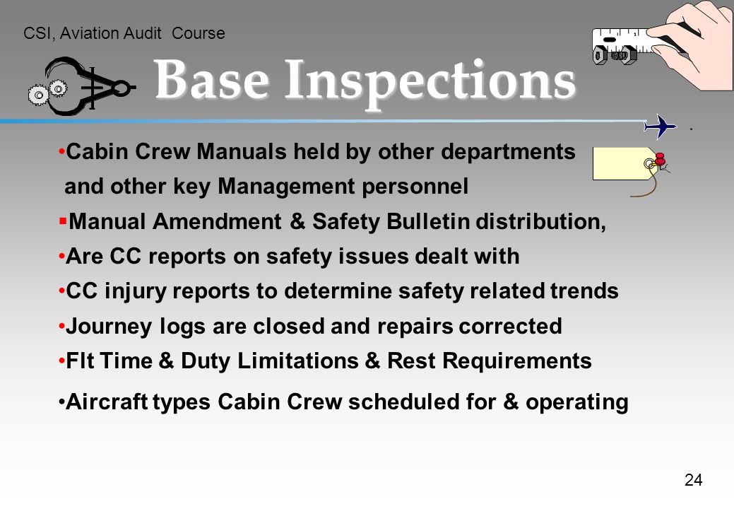 Base Inspections Cabin Crew Manuals held by other departments