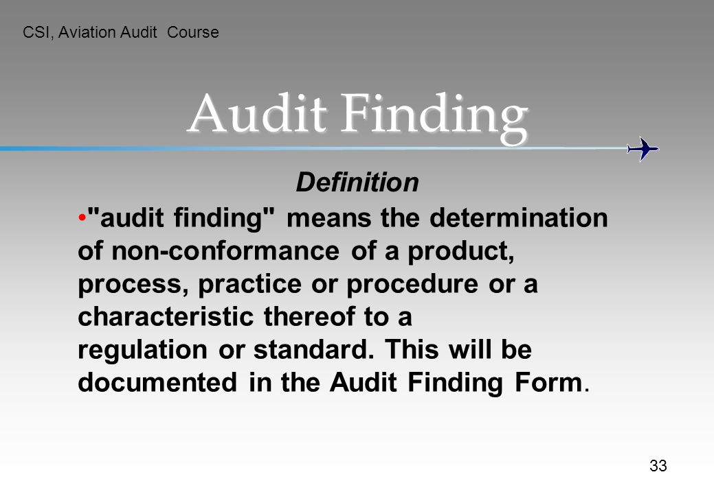Audit Finding Definition