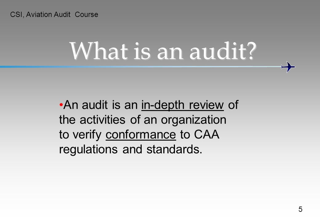 CSI, Aviation Audit Course
