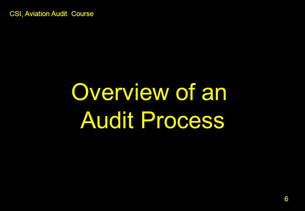 Overview of an Audit Process