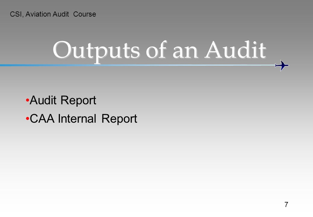 Outputs of an Audit Audit Report CAA Internal Report