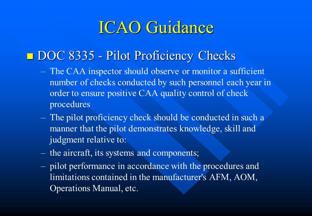ICAO Guidance DOC 8335 - Pilot Proficiency Checks