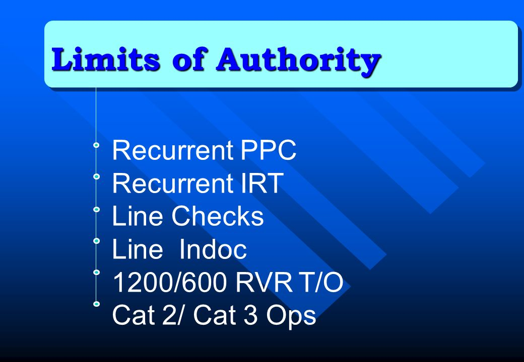 Limits of Authority Recurrent PPC Recurrent IRT Line Checks Line Indoc