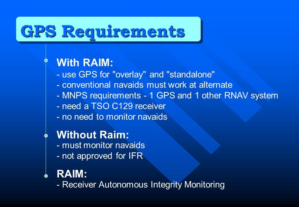 GPS Requirements With RAIM: Without Raim: RAIM: