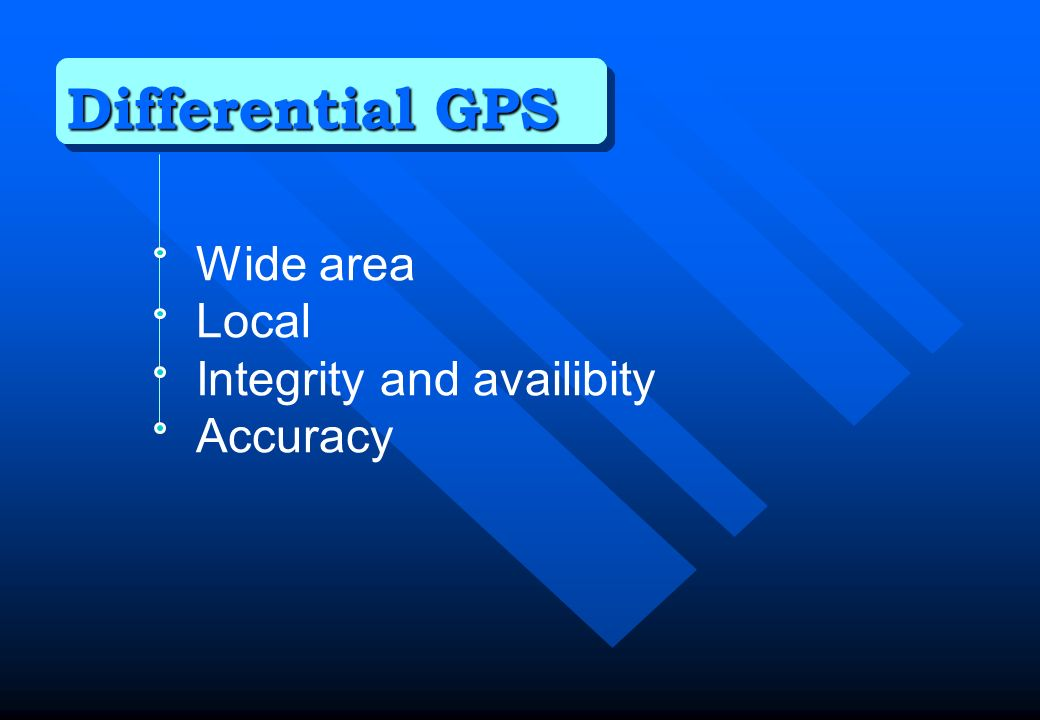 Differential GPS Wide area Local Integrity and availibity Accuracy