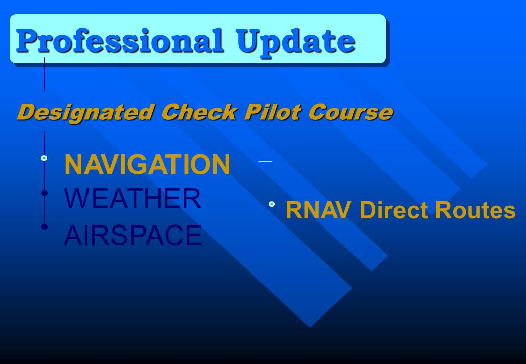 Professional Update NAVIGATION WEATHER AIRSPACE RNAV Direct Routes
