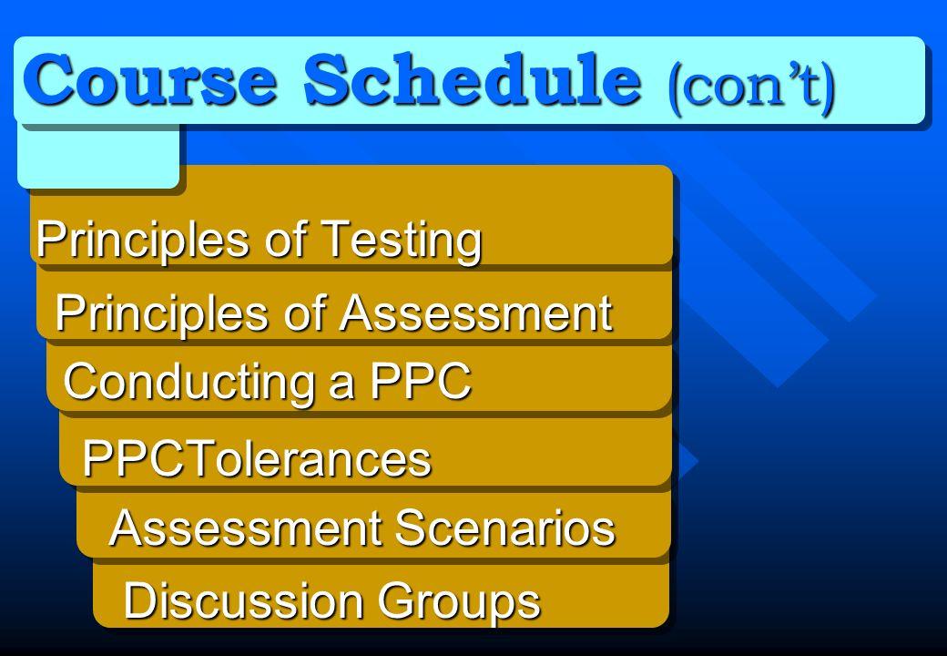 Course Schedule (con't)