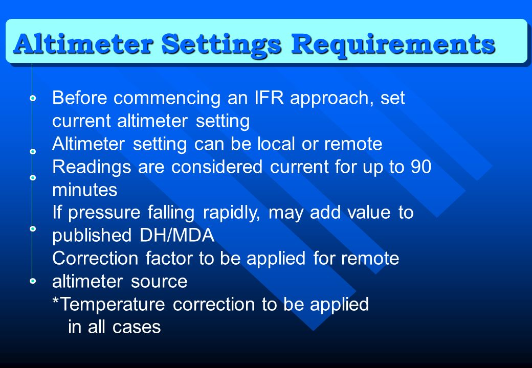 Altimeter Settings Requirements