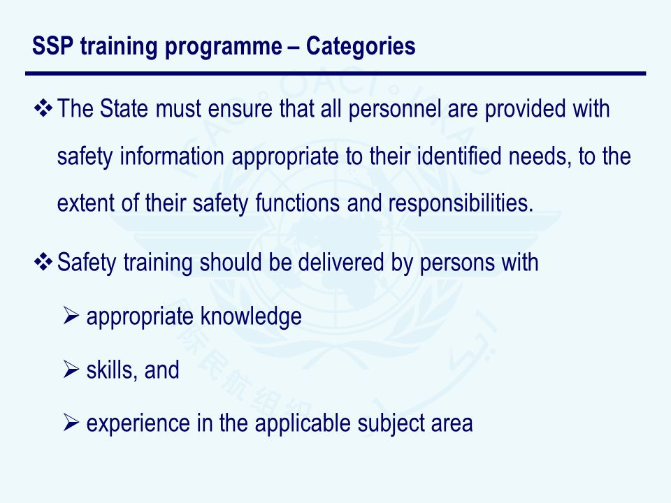 SSP training programme – Categories