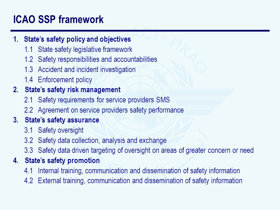 ICAO SSP framework State's safety policy and objectives