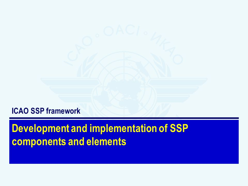 Development and implementation of SSP components and elements