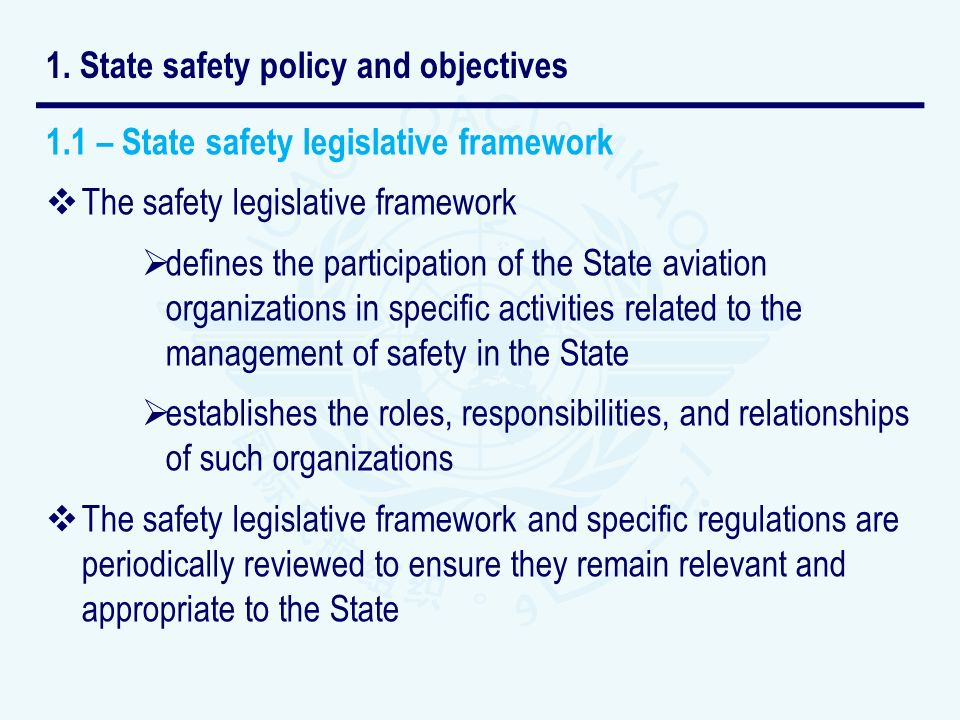 1. State safety policy and objectives