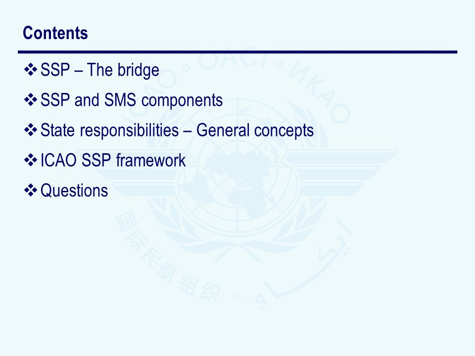 Contents SSP – The bridge. SSP and SMS components. State responsibilities – General concepts. ICAO SSP framework.