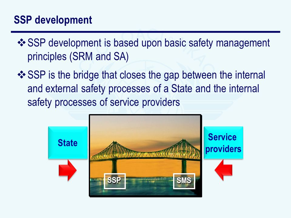 SSP development SSP development is based upon basic safety management principles (SRM and SA)