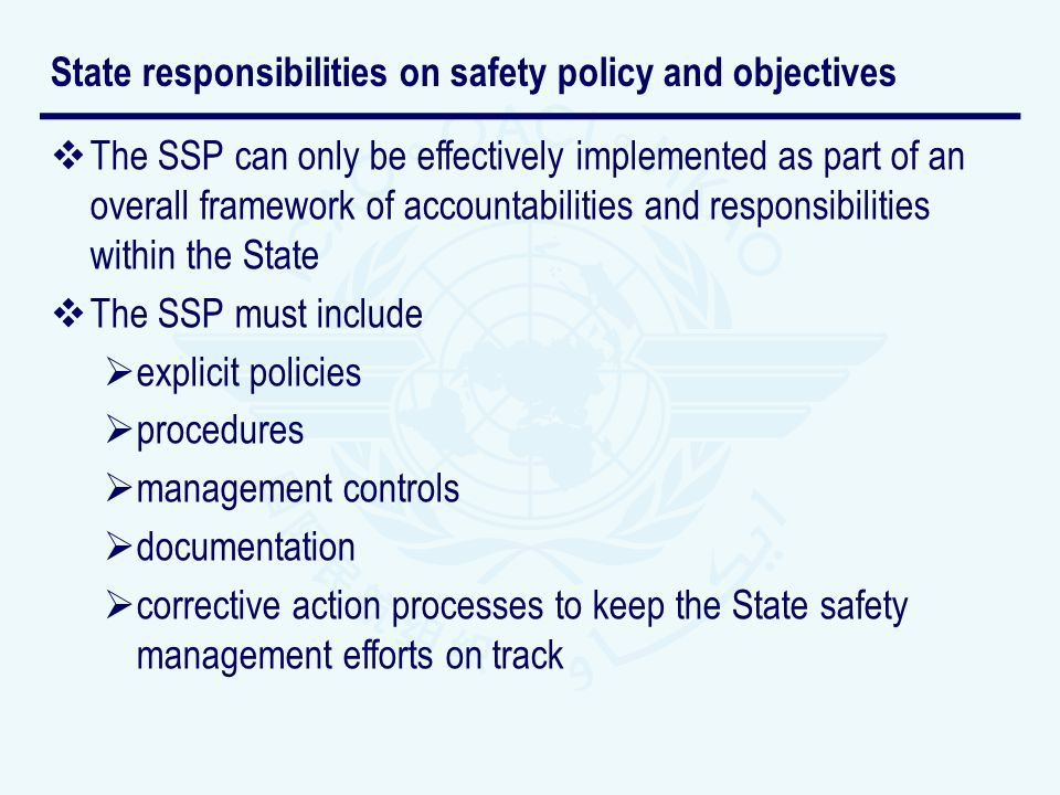 State responsibilities on safety policy and objectives