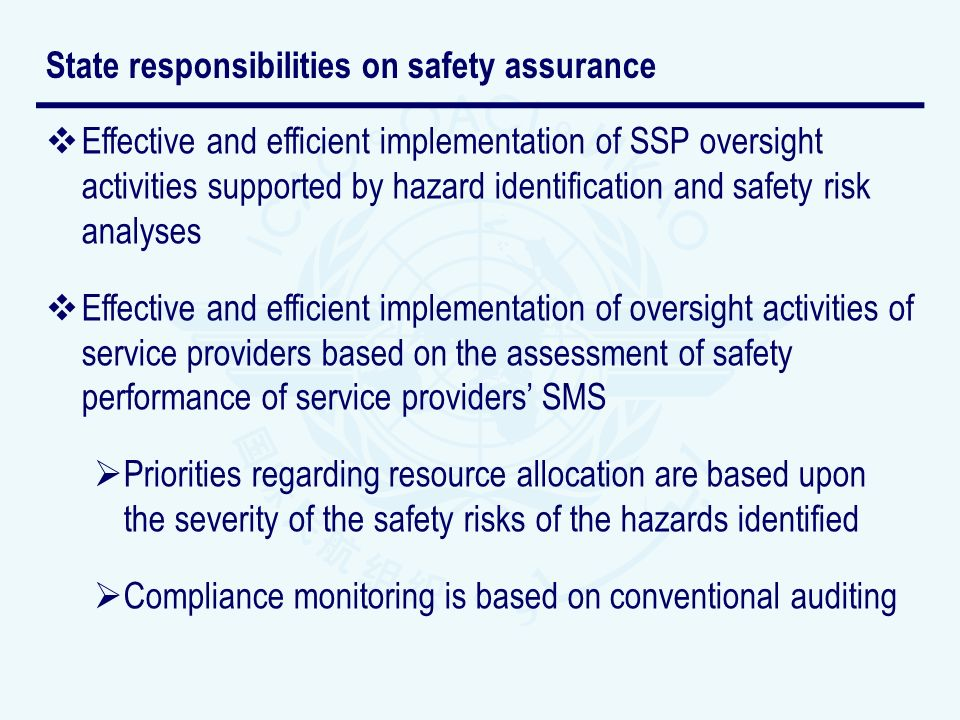 State responsibilities on safety assurance