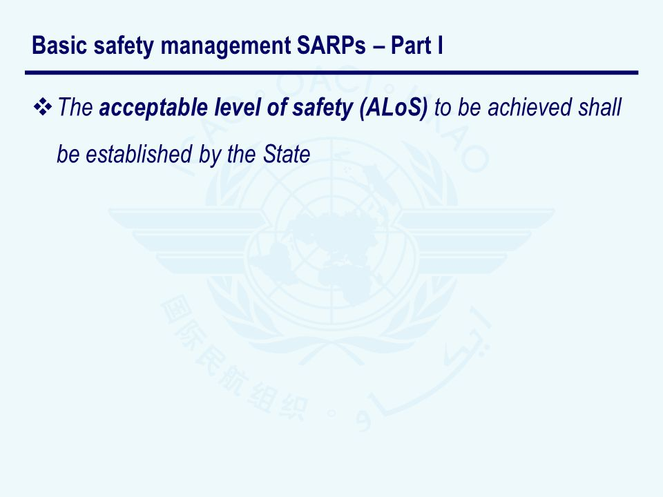 Basic safety management SARPs – Part I