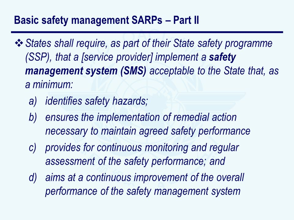 Basic safety management SARPs – Part II