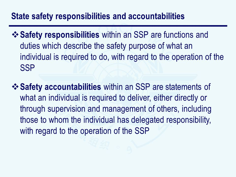 State safety responsibilities and accountabilities